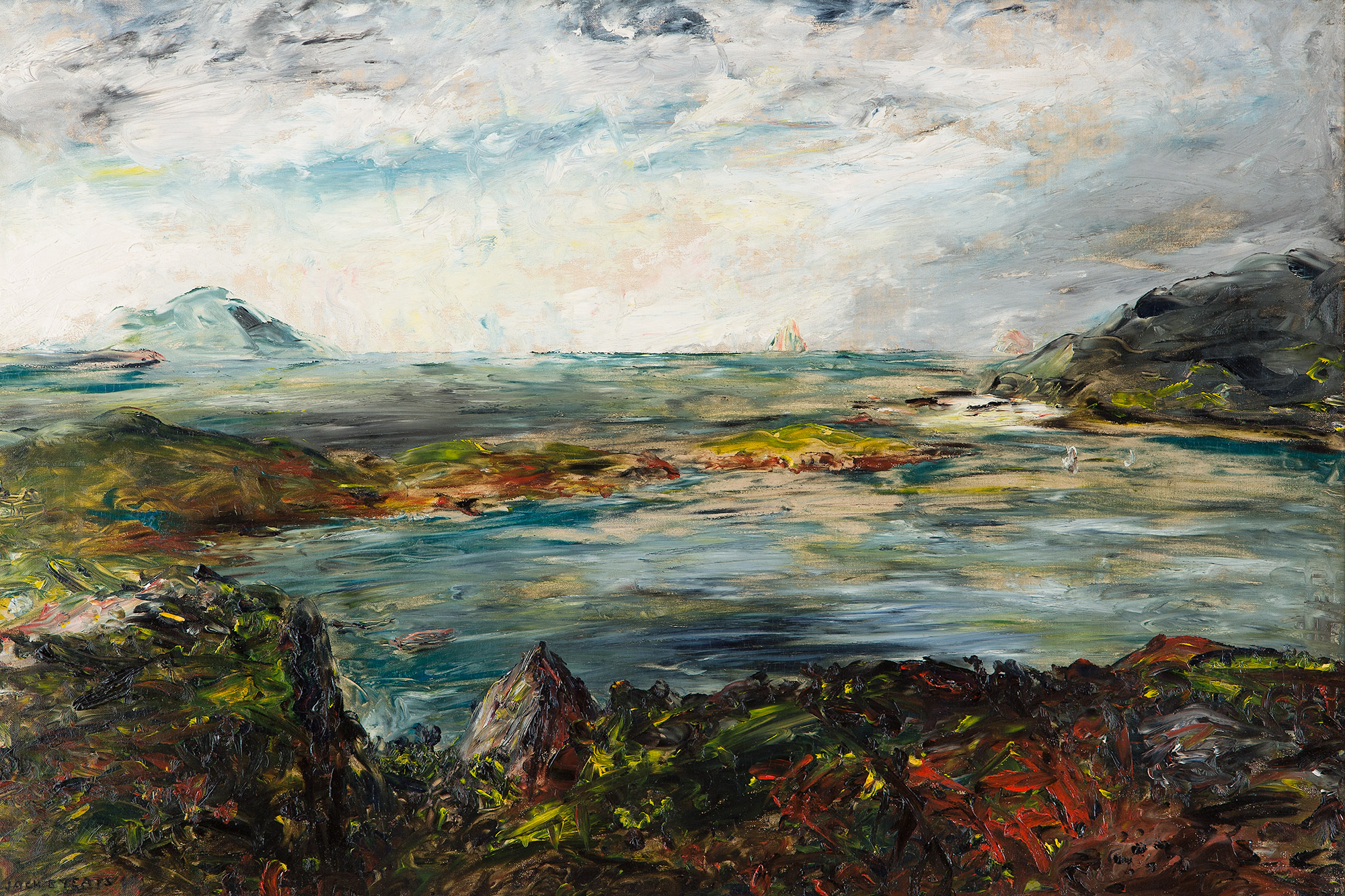 "Painting of an Irish countryside landscape entitled ""Derrynane"" by artist Jack B. Yeats"