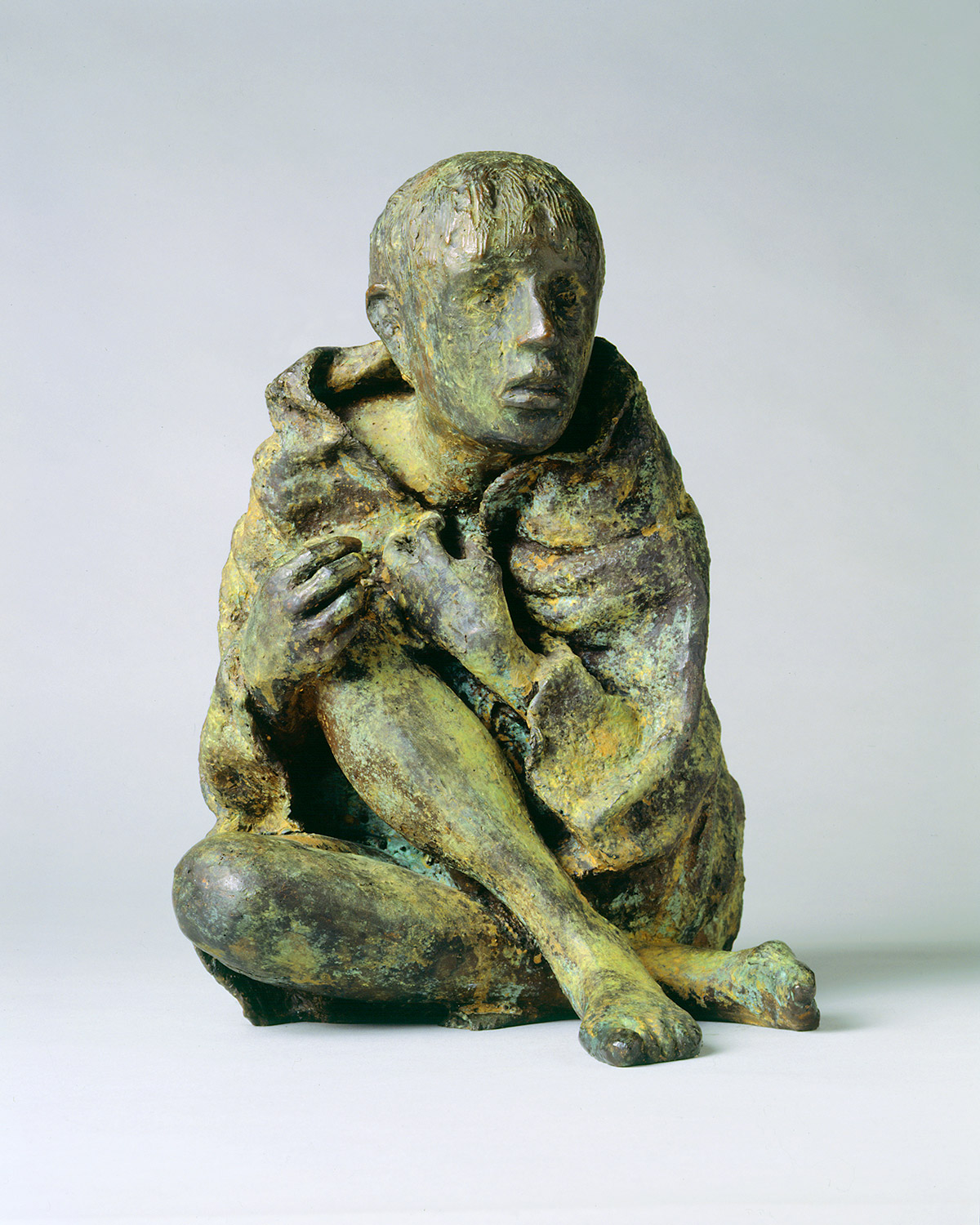 "A photo of a sculpture entitled ""The Victim"" by artist Rowan Gillespie"